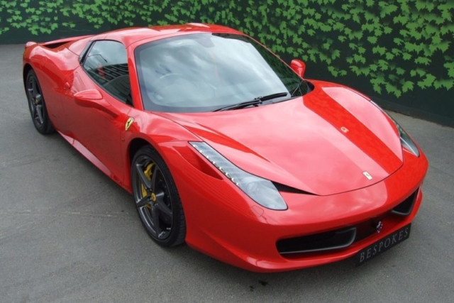 Ferrari 458 available fro hire from London, Cheshire and Bristol